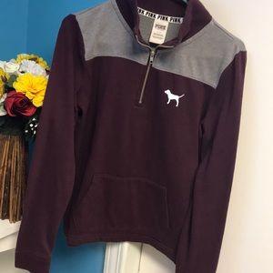 Burgundy Half Zip PINK Pullover Sweater